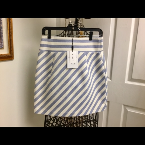 Milly Dresses & Skirts - NEW Milly blue stripe mini skirt size 8 $250